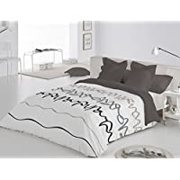 Reig Martí Oleo - Juego de funda nórdica estampada, 4 piezas, para cama de 180 cm, color gris