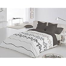 Reig Martí Oleo - Juego de funda nórdica estampada, 3 piezas, para cama de 150 cm, color gris
