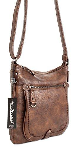 Jennifer Jones Taschen Damen Damentasche Handtasche Schultertasche Umhängetasche Tasche klein Crossbody Bag 3110 Braun