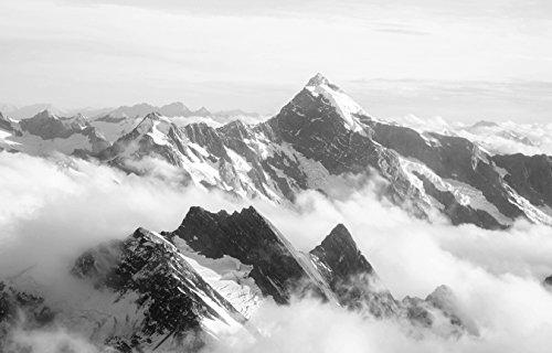 Bilderdepot24 Fototapete selbstklebend Mount Cook - Neuseeland - schwarz weiß 230x150 cm