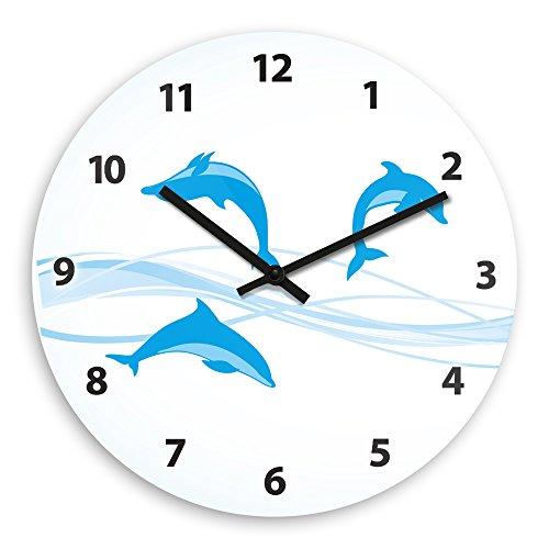 Wanduhr mit Delfin-Motiv für Kinder | Kinderzimmer-Uhr | Kinder-Uhr