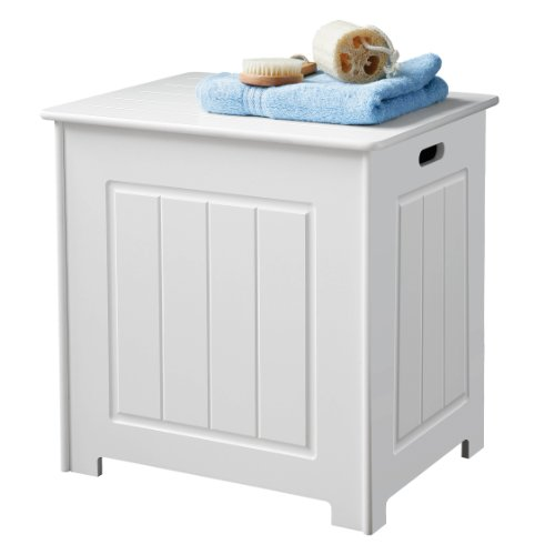 Premier Housewares- Baúl de almacenaje (51 x 51 x 40 cm, tapa con bisagra), color blanco