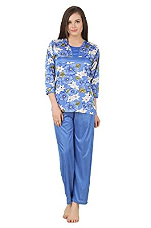 676aa32619 ... Fasense Women Satin Nightwear Nightsuit Top   Pyjama Set