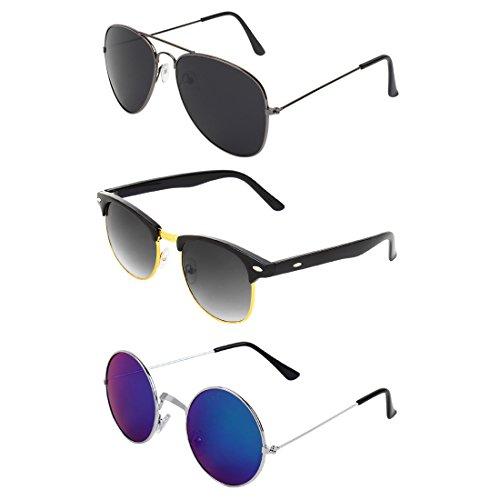 Abner Combo of Aviator, Clubmaster & Round Sunglasses 335