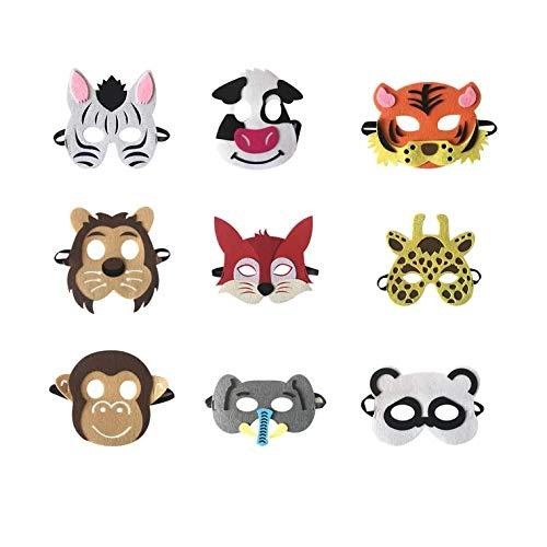 thematys Kinder-Masken Tier-Maske 9er Set - perfekt für Geburtstag Karneval & Fasching - Kostüm für Kinder - Einheitsgröße - Eva weiches - Tier Maske Kostüm