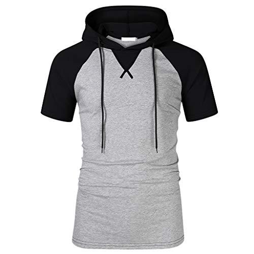 Sannysis Herren Kontrast T-Shirt Gym Fitness Kurzarmshirt Weste Trainingsshirt Hoodie Oversize Sweatshirt mit Kapuze Longsleeve Sweater