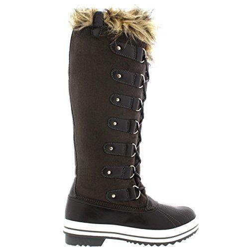 Damen Pelz Cuff Schnüren Gummisohle Knie Hoch Winter Schnee Regen Schuh Stiefel Grau Wildleder