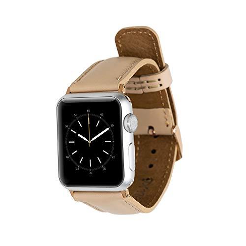 Lederbuxe Mailand Armband aus Leder für Apple Watch Series 4 3 2 1 38 40 mm 42 44 mm Adapter Silber Schwarz (42/44 mm Rose Gold Adapter, Salmon - rosa)