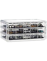 Relaxdays Organizador para Maquillaje, Acrílico, Tres Cajones, Caja de Almacenaje, Transparente, 10,5 x 23,5 x 15,5 cm