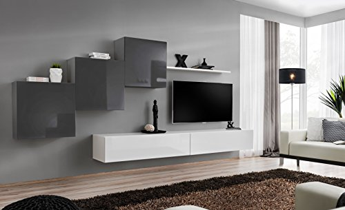 ... Schrankwand Fernsehwand Wohnzimmerset Lowboard Kleine Wohnwand  Fernsehschrank TV Lowboard Glasvitrine Weiß Schwarz Grau Wotan SW 10 (Grau    Weiß   Polo)