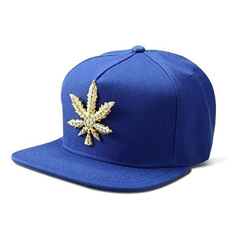 Fashion Hip Hop Style Kristall Iced Geschenke Für Frauen Out Weed Leaf Verstellbar Baumwolle Baseball Cap Sports Hat (Color : Blau, Size : One Size)