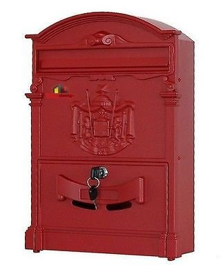 Generico stile tradizionale cassetta della posta/post box Regal Crest Red < 1& 1896* 1>