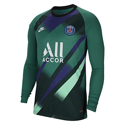 Nike psg m nk brt stad jsy ls gk 3r magliette, uomo, uomo, at0039, verde/bianco (green noise/white), xl