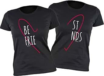 Freunde T-Shirt Freundin für 2 Zwei - Freundschafts Damen Mädchen Shirt - Beste Freunde Best Friends Be/st Frie/nds - Herz Motiv Geschenk für Sie femininer Schnitt Gr. L--BeFrie/S--stnds : )