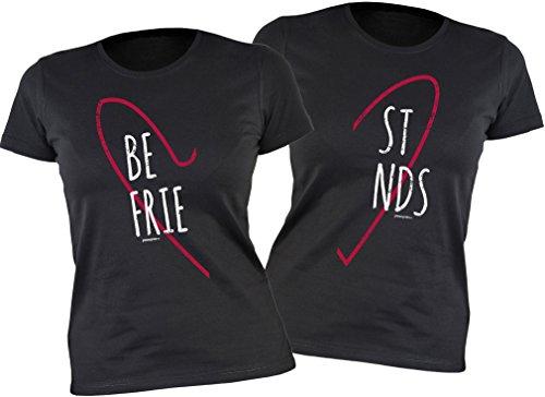 *Freunde T-Shirt Freundin für 2 Zwei – Freundschafts Damen Mädchen Shirt – Beste Freunde Best Friends Be/st Frie/nds – Herz Motiv Geschenk für Sie femininer Schnitt Gr. L : )*