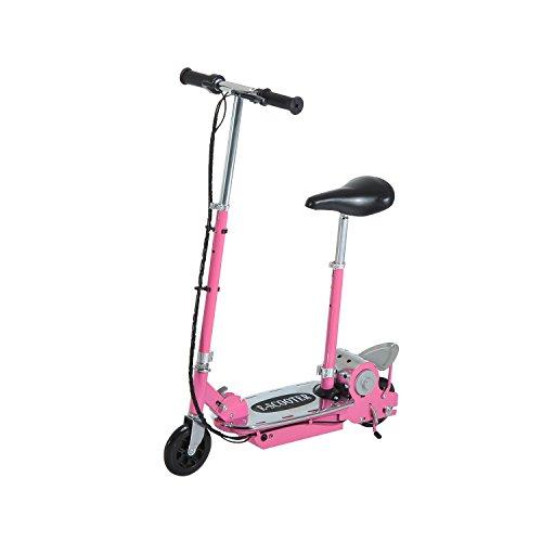 homcom Monopattino Elettrico Pieghevole con Sella 2 Ruote Manubrio Regolabile Bambini 7 Anni 81.5 × 37 × 96cm Rosa