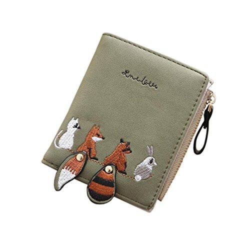 Diyafas Schöne Damen Portemonnaie PU Leder Kurz Reißverschluss Geldbörse Mädchen Kleine Kartenhalter Brieftasche Münze Tasche (Geldbörse Mädchen Kleine)