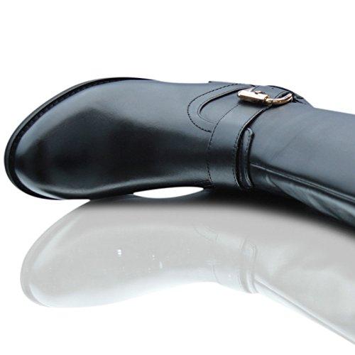 Skechers Ladies Crazy Cruscotto 48721 Stivali Alti Al Ginocchio In Pelle Con Tacco Grosso Uk Taglia 2-8 Nero