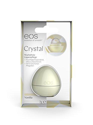 eos Crystal Vanilla Lippenbalsam, erste vegane & wachsfreie Lippen-Pflege, feuchtigkeitsspendender Lip-Balm, mit Avocado- & Kokosnussöl, 1 x 7 g