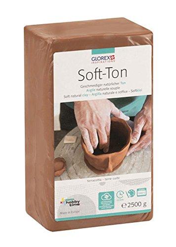 Glorex GmbH 6 8075 337 Soft Ton terracotta 2500 g, lufthärtend oder brennbar