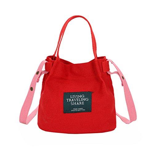Vbiger Borsa a tracolla in tela Borsetta alla moda Borse Tote alla moda Borsa Messenger casual per donne(Nero) Rosso
