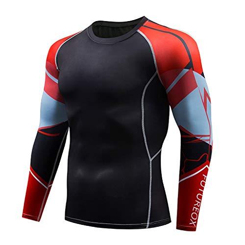 Herren Fitness Sweat Atmungsaktiv Sport Enges Langarmshirt, Bluestercool Mens Casual schnell trocknende elastische atmungsaktive Sport Tight Twill Hooded Fleece-sweatshirt
