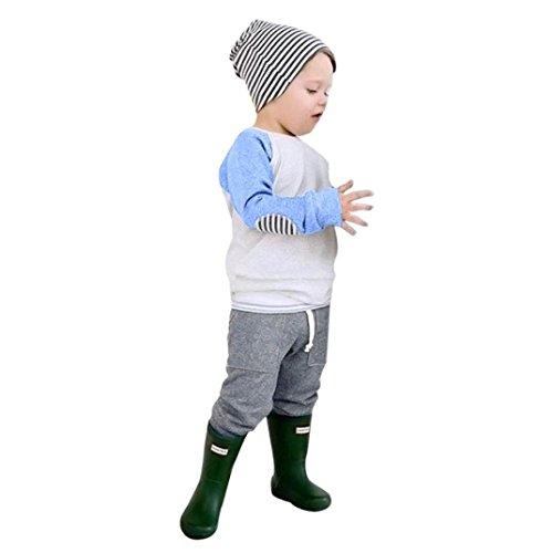 LangÄrmeliges T-shirt Set (Patchwork Kleidung Set Neugeborene Kinder, DoraMe Baby Jungen Baumwolle Outfits O-Ausschnitt Pullover Langärmelige T-shirt Tops + Streifen Hosen für 6-24 Monate (Blau, 24 Monate))