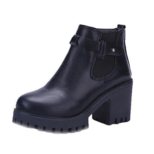 Stiefel Damen Schuhe Sonnena Plateau Stiefeletten Blockabsatz Boots Frauen Stiefel Square Heel Plattformen Oberschenkel High Pump Stiefel Motorrad Schuhe mit Reißverschluss (37,...