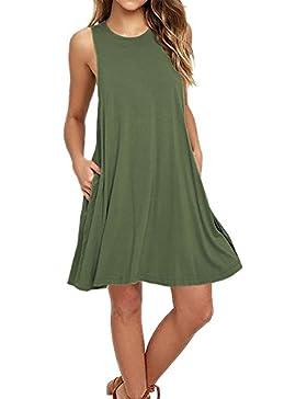 Yidarton Sommerkleider Für Damen Sexy A-Linie Ärmellos Strandkleider Taschen Tank Top T-Shirt Kleider