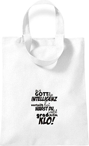 ShirtInStyle kleine Baumwolltasche Als Gott die Intelligenz verteilt... KLO! Farbe Rot Weiss