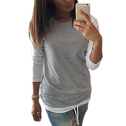 Women's Sweatshirt Long Sleeve Drawstring Waist Color Blocks T-shirt Loose Blouse Shirt Tops (XL, Gray