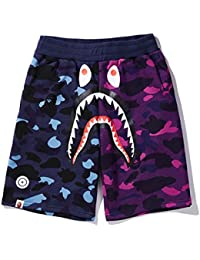 a1a4d655b87 drter Bape AAPE Camouflage Color Matching Shark Mouth Print Casual Shorts  Men s Loose Pants