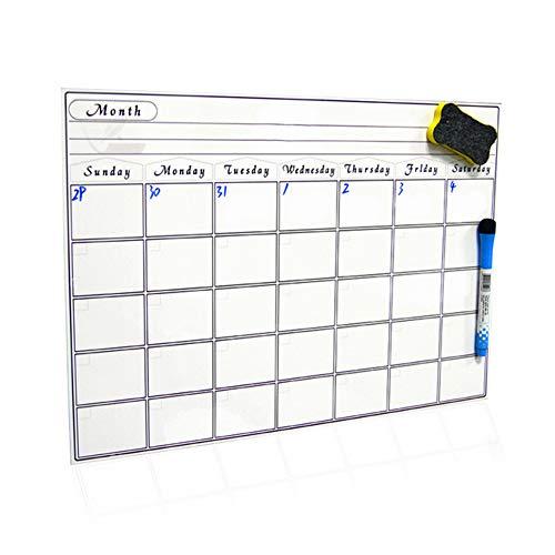 30 * 42 cm Magnetische Tafel Kalender - Smart-Dry Erase Board für Ihren Kühlschrank, Küche und Büro. Stilvolle schwarzer Monat Design-Planer für alle Ihre Aktivitäten für Kinder