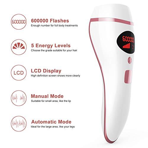 IPL Depiladora de Luz Pulsada,  Láser de Depilación Permanente para Cuerpo y Cara Dispositivo Láser Profesional sin Dolor para el Hogar (D19- Rosa)