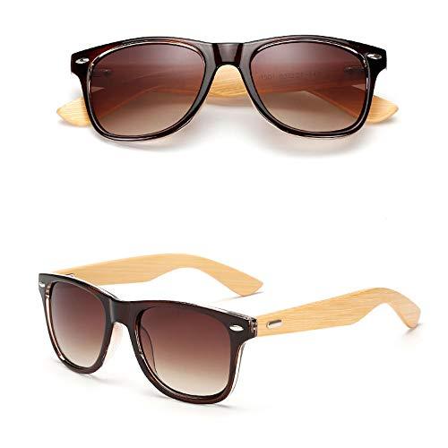 Eye-nak Holz Sonnenbrille UV400 - Unisex Damen und Herren Brille mit Bambus Bügeln - Holzbrille - unterschiedliche Farben (C3)