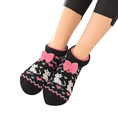 Fenverk 1 Paare Erwachsene Kinder WäRmer Socke Gestrickt Muster Slipper Socken Thermal Schlafen Sie Weich GemüTlich Oben Bett Zuhause Booties Winter Warm GebüRstet Haus Schuh(A 2,Erwachsene)