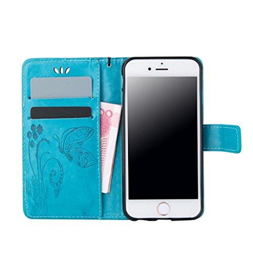 iphone 5s Coque, iphone SE Cover, MYTH Rétro Étui à rabat Magnétique Portefeuille Coque Flip Stand Protecteur Bookstyle Housse Pour iphone 5s /iphone SE /iphone 5 Blanc Bleu