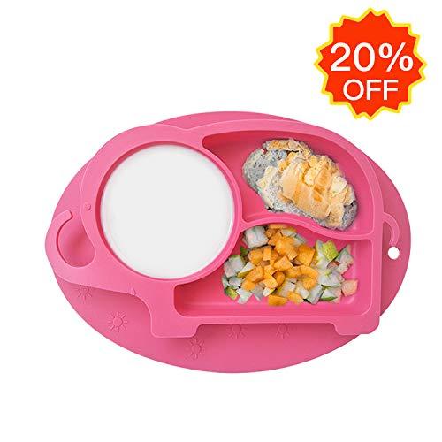 Bambini Tovaglietta in Silicone con Piatto Ventosa, Portatile Baby Silicone Plates 3 Scomparti, Disegno Elefante,FDA e BPA Liberi, Microonde Lavastoviglie Congelatore Valido, Rosa