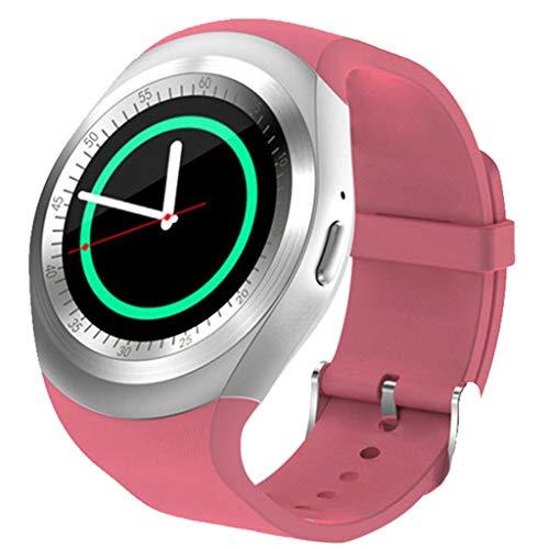 Saingace(TM) Fitness Armband mit Schrittzähler, Bluetooth Phone Smartwatch Fitness Tracker Damen Herren Runden Bildschirm Smart Watch Remote-Foto Aktivitätstracker für iOS Android (Pink)