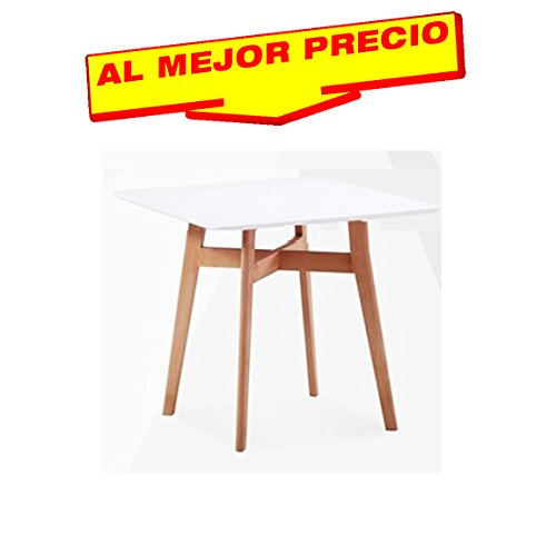 MESA DE COCINA MESA DE SALÓN MADERA LACADA BLANCA 80 X 80 CMS- OFERTAS HOGAR -¡AL MEJOR PRECIO!