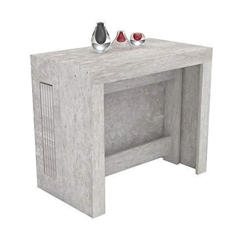 VE.CA.s.r.l. Tavolo consolle allungabile Karen con Porta allunghe in Legno - allungabile da 51,5 cm 300 cm, in 5 colorazioni - arredo Cucina casa Design (Cemento)