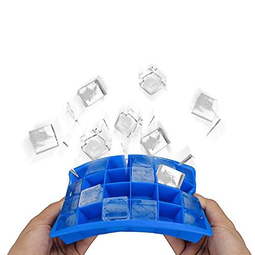 Bandejas para Hielo Silicona 24 Cubos Cubitera Hielo FDA Grado de Alimentos Moldes de Cubito de Hielo para Refrescos Zumos Vino Frutas Hierbas Salsas Postres (Azul)