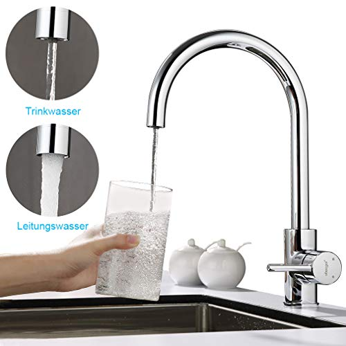2 modalit/à dacqua Ubeegol miscelatore per lavello con doccetta estraibile cromato Rubinetto girevole a 360/° per cucina miscelatore per lavello