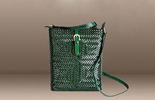 DJB/Retro Magnetverschluss geflochten Leder Umhängetasche handgeflochtenem Tasche Grün