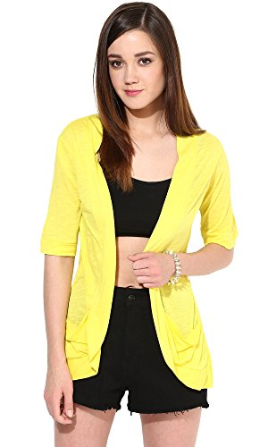 Trend18 Viscose Yellow Pocket Long shrug - Yellow X-Small  available at amazon for Rs.199