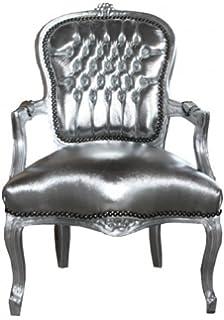 Barockm/öbel Casa Padrino Barock Salon Stuhl Zebra//Silber mit Armlehnen