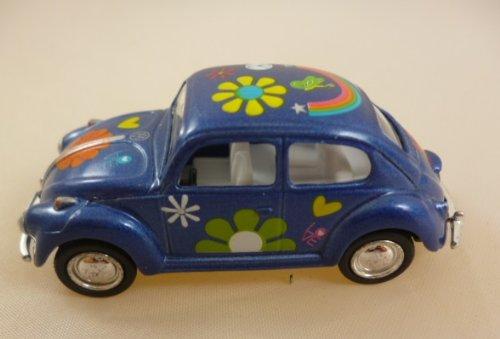 Bleu Volkswagen Beetle classique avec Hippy impression (1967) Die Cast métal 1: 64 (HL128)