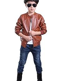 YoungSoul Chaquetas de imitacion piel bebes de manga larga cazadoras cuero sintetico moto abrigos de otoño invierno para niño