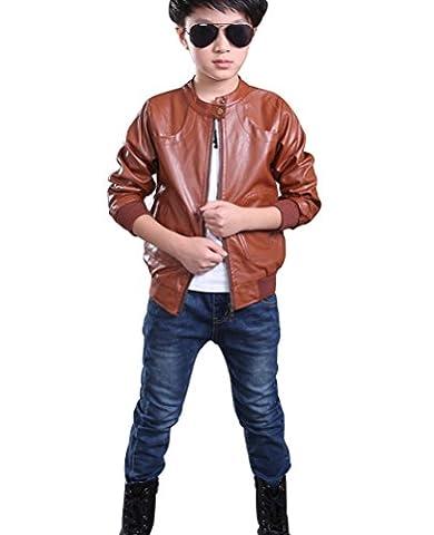 YoungSoul Kinder Kunstlederjacke Kragen Motorrad Teenager Jungen Biker Leder Mantel Herbst Winterjacke Braun 11-12T/Körpergröße 160cm