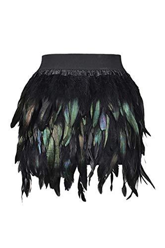 Damen Federn Minirock Elastischen Bund Cocktail Röcke schwarz S Bundes-cocktail